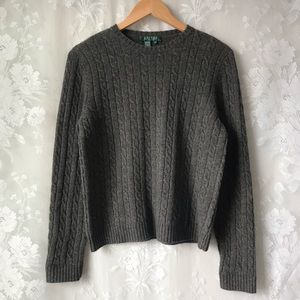 Ralph Lauren Gray Merino Wool Cable Knit Sweater